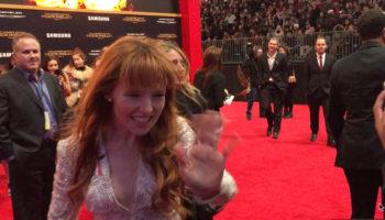 Pirromount actress Stef Dawson (Rage of Innocence) on the Mockingjay 2 premiere red carpet