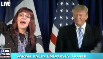 Judy Tenuta beside Donald Trump at pep rally